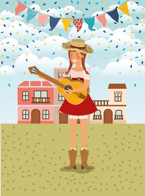 Female farmer playing guitar with garlands and cityscape Premium Vector