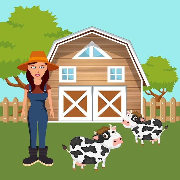 Female farmer standing in farmyard Premium Vector