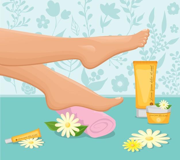 女性の足スパのコンセプト 無料ベクター