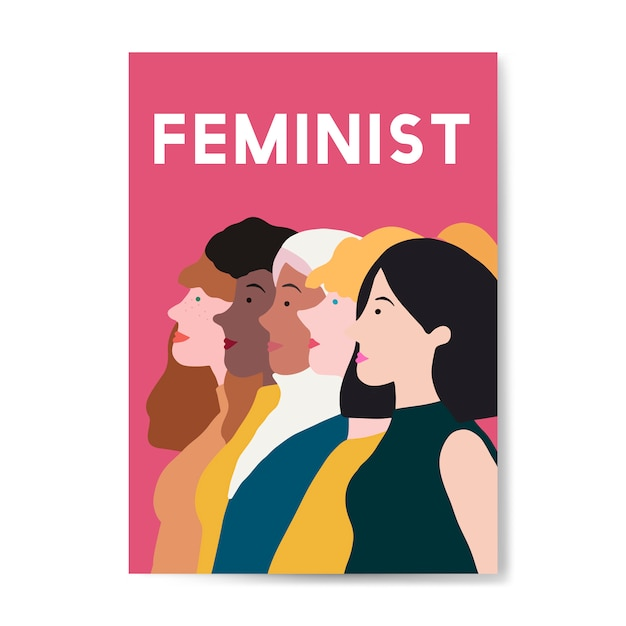 Female feminist standing together vector Free Vector