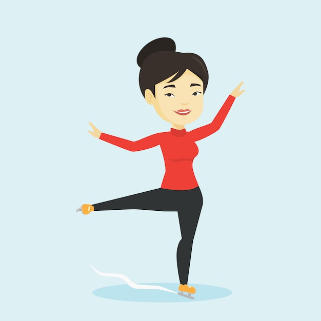 女性フィギュアスケート選手のベクターイラストです。 Premiumベクター