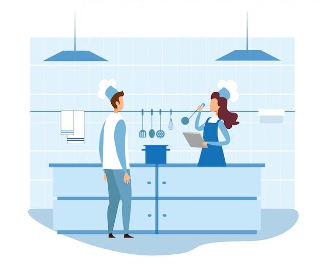 Female food critic checking restaurant kitchen Premium Vector