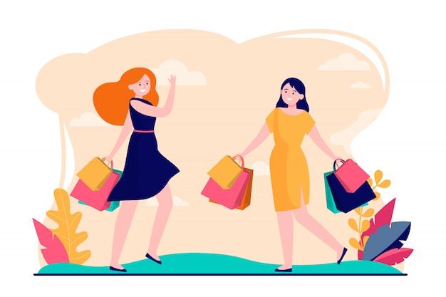 함께 쇼핑을 즐기는 여자 친구 무료 벡터