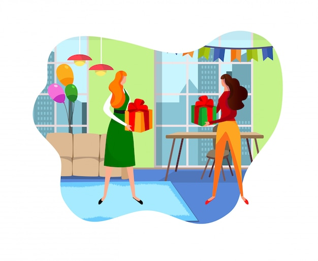 Female friends giving gifts to each other in room. Premium Vector