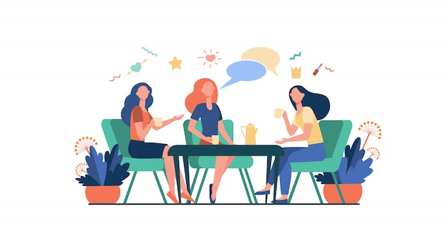 Female friends hanging out in cafe Free Vector