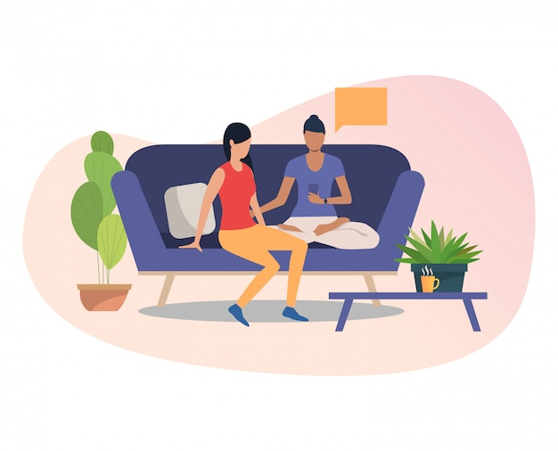 Female friends using smartphone together Free Vector
