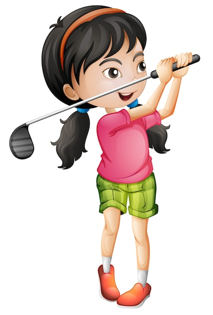 A female golfer character Free Vector