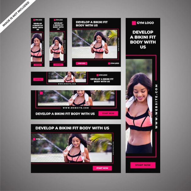 Female gym ad campaign for social media & digital marketing Premium Vector