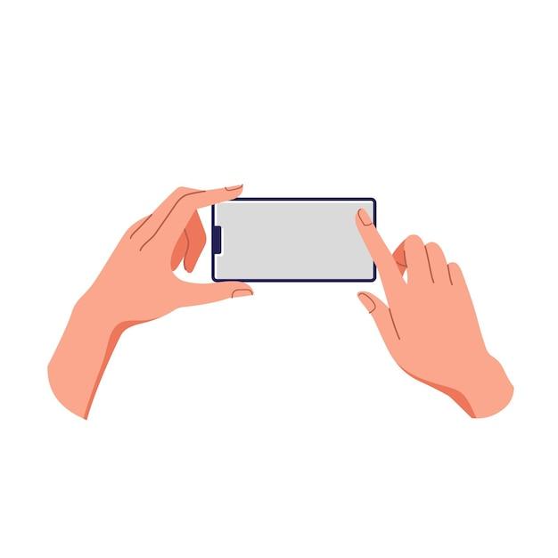 여성의 손 잡고 스마트 폰입니다. 빈 화면, 전화 모형. 터치 스크린 장치에 적용. 프리미엄 벡터
