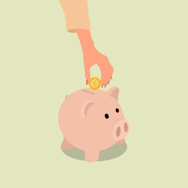 A female hand put a coin into piggy bank for saving. flat style design vector Premium Vector
