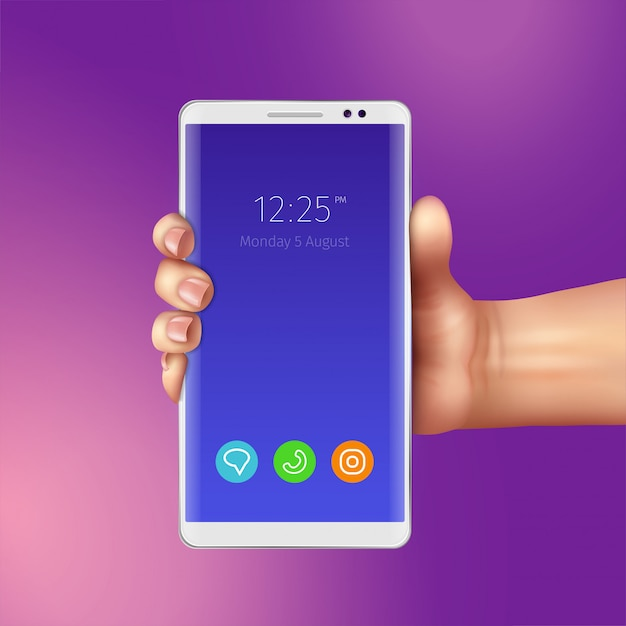 Female hand and realistic white smart phone with icons of mobile apps on screen illustration Free Vector