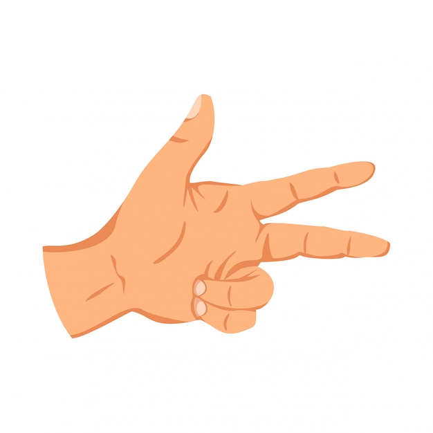 女性の手サイン。人間の指ジェスチャーサイン。手話。分離ベクトルイラスト Premiumベクター