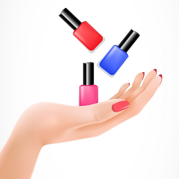 Female hand tossing nail lacquers vector Free Vector
