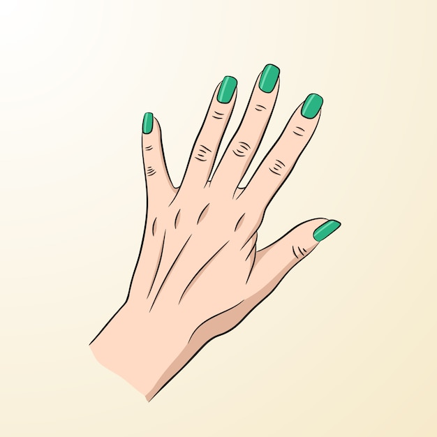 A female hand with green nails Premium Vector
