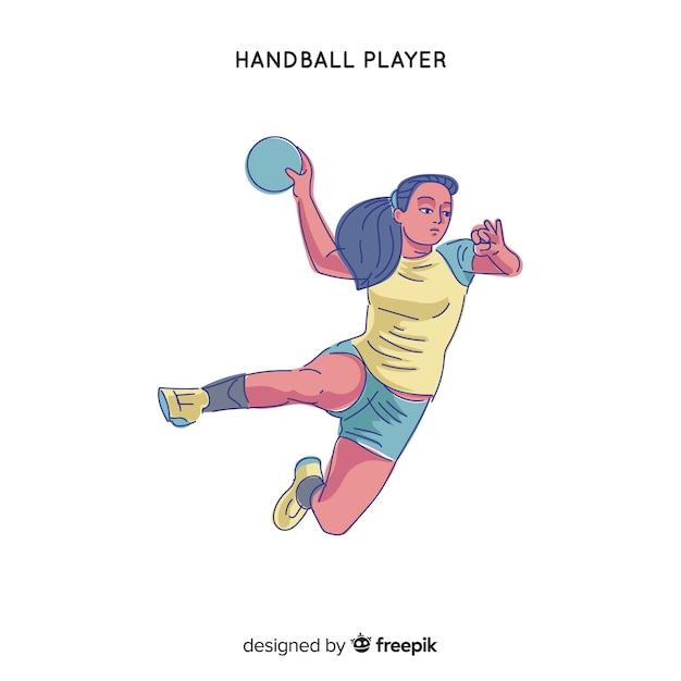 Female handball player Free Vector
