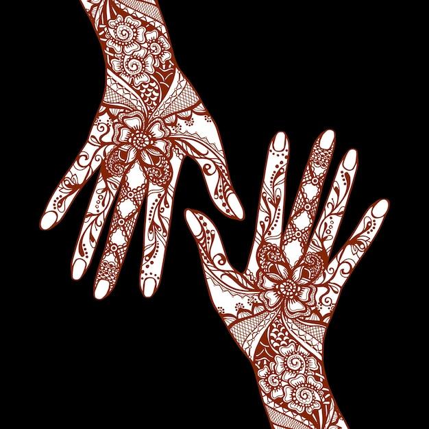伝統的なインドのmehendiヘナの入れ墨の装飾品で覆われた女性の手 無料ベクター