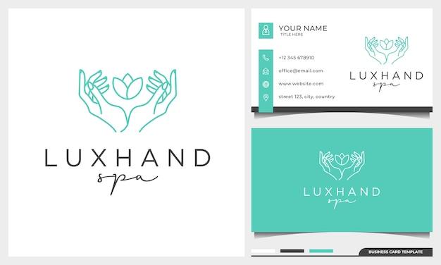 Женская линия жестов рук и шаблон дизайна логотипа цветка розы. простой минималистичный линейный стиль с шаблоном визитной карточки Premium векторы