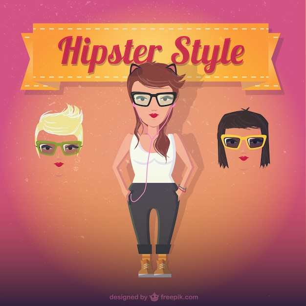 Female hipster style Free Vector