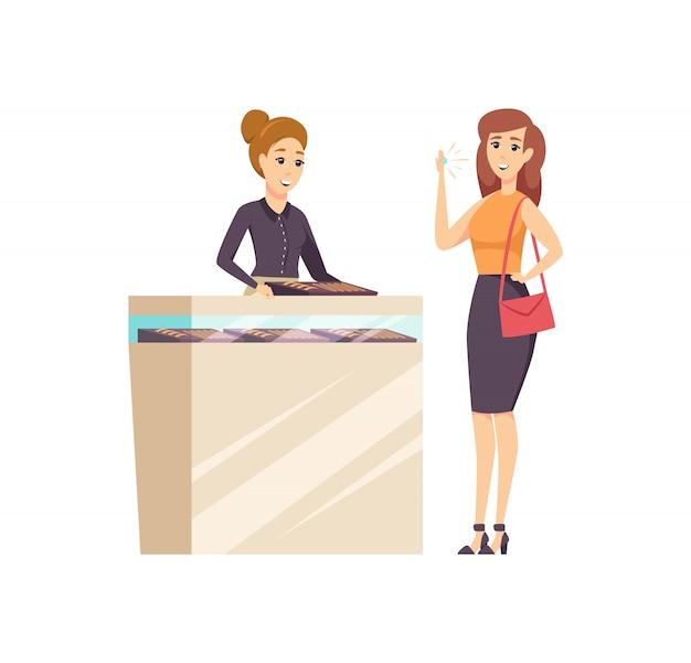 Female in jewelry store with consultant Premium Vector