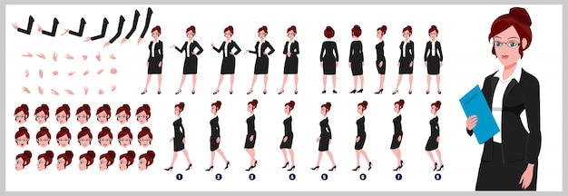 Female lawyer character model sheet with walk cycle animations and lip syncing Premium Vector