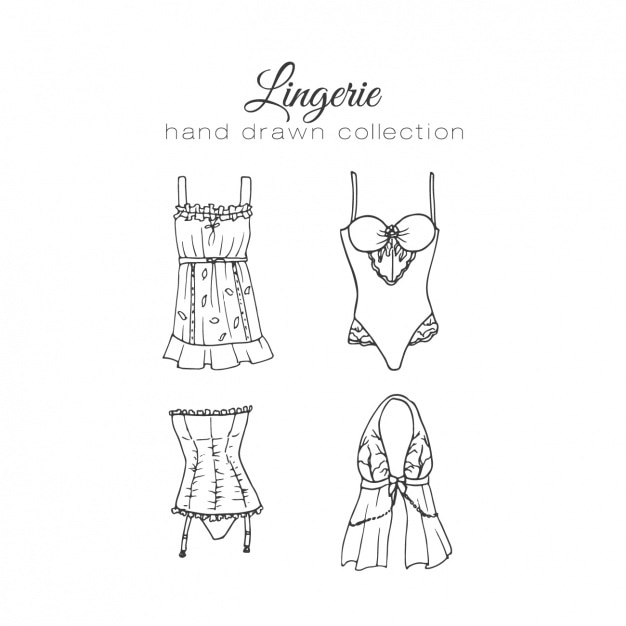 Female lingerie elements collection Free Vector