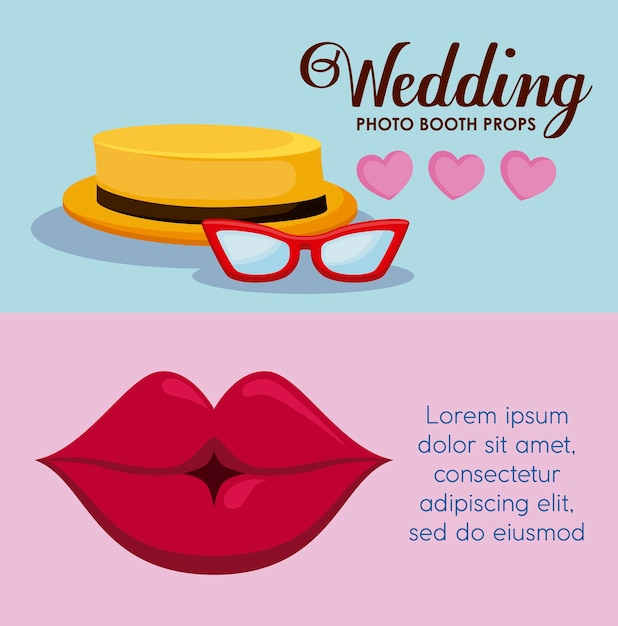 Female lip with hat male and eyeglasses Free Vector