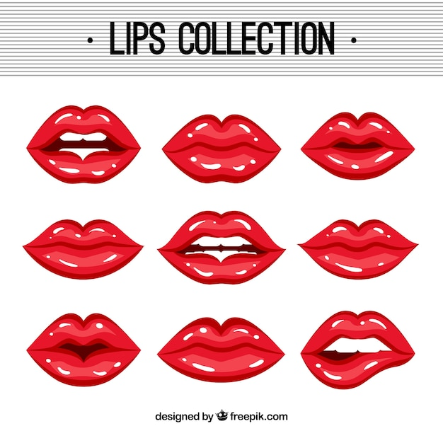 Female lips collection with 2d style Free Vector