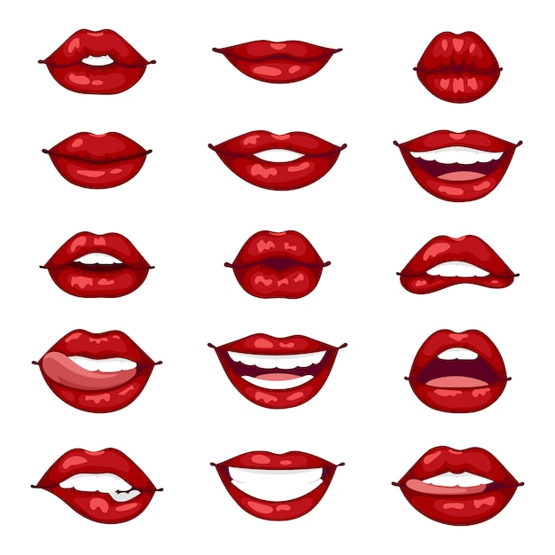 Female lips isolated  illustration. Premium Vector
