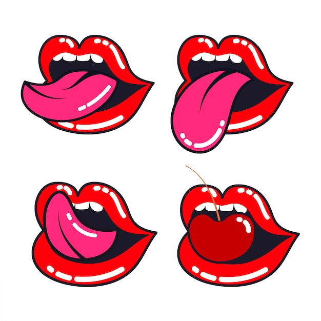 Female lips set. woman mouth with a tongue, teeth and cherry. Premium Vector