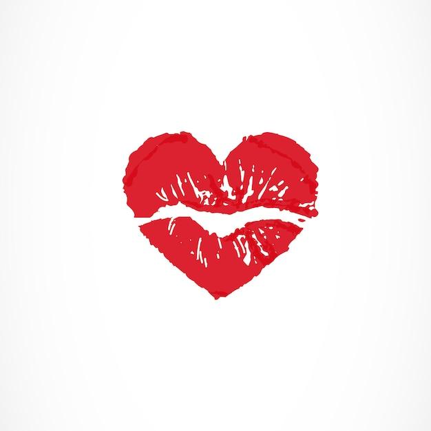 Female lips in shape of heart Premium Vector