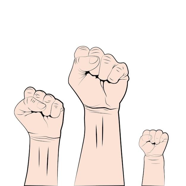 Женский мужчина и дети кулаками. борьба за права и свободы. Premium векторы