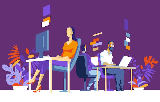 Female and male office workers, collegues sitting, working on computer Premium Vector