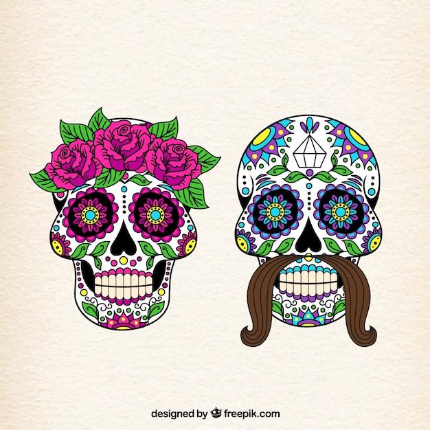 a1157da5a93ba Female and male sugar skulls Vector | Free Download