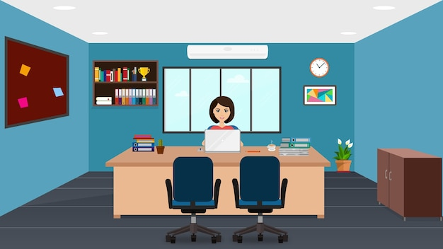 Female manager in office Premium Vector