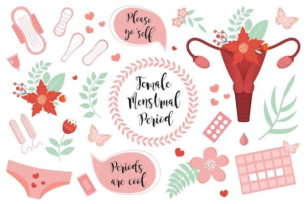 Набор женского периода менструации. Premium векторы