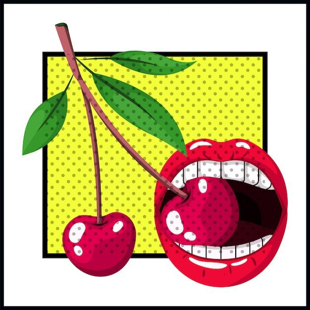 Female mouth bite cherry pop art style Premium Vector