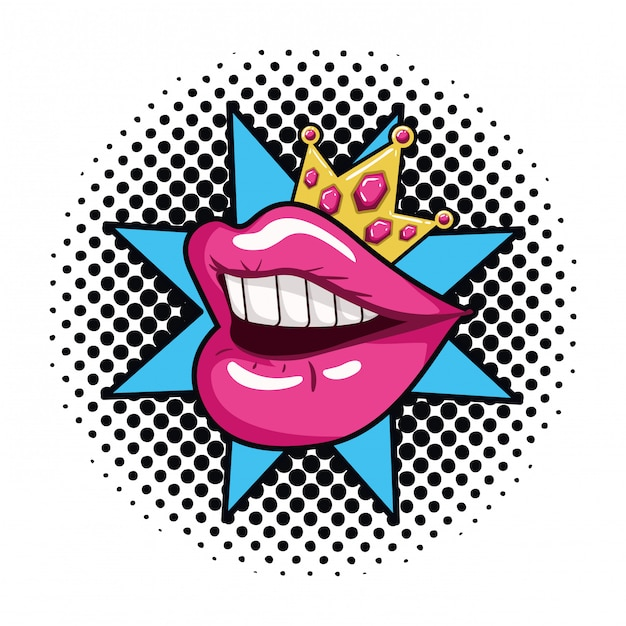 Female mouth pop art style isolated icon Premium Vector
