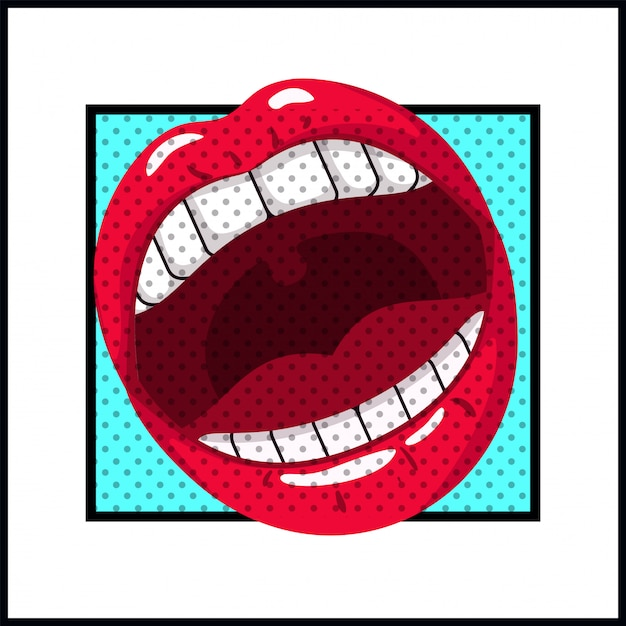 Female mouth pop art style Premium Vector