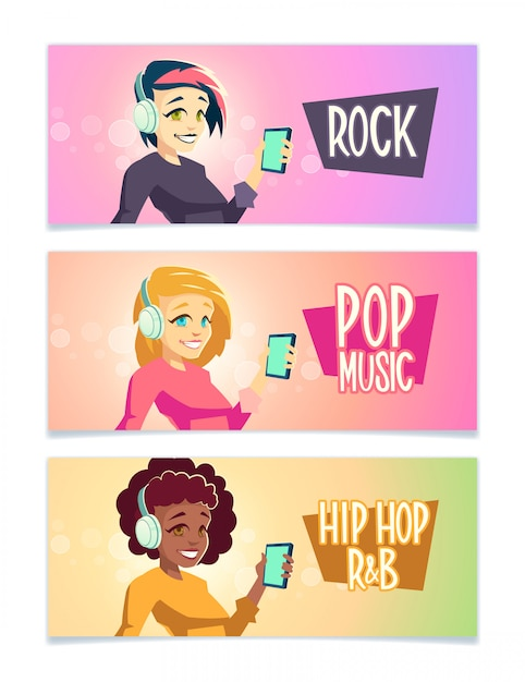 Female music lower cartoon  banner set with brunette Free Vector