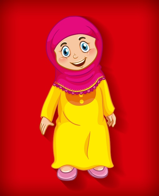 Free Vector Female Muslim Cartoon Character Colour Gradient Background