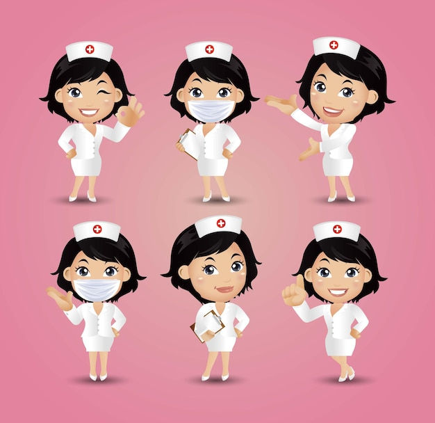 ポーズの違う女性看護師 Premiumベクター