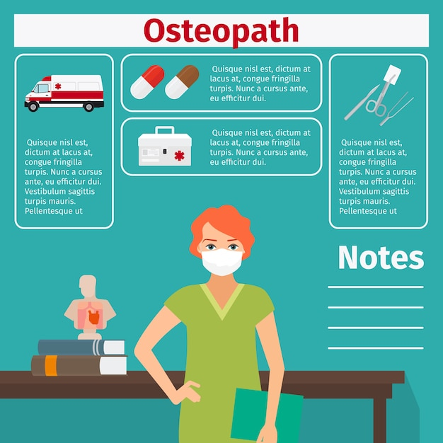 Female osteopath and medical equipment template Premium Vector