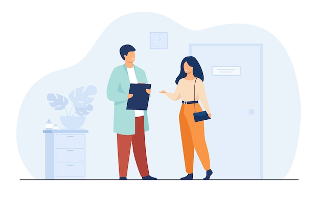 Female patient in doctor office Free Vector