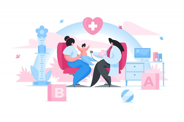 Premium Vector | Female pediatrician examining baby in clinic. flat  illustration