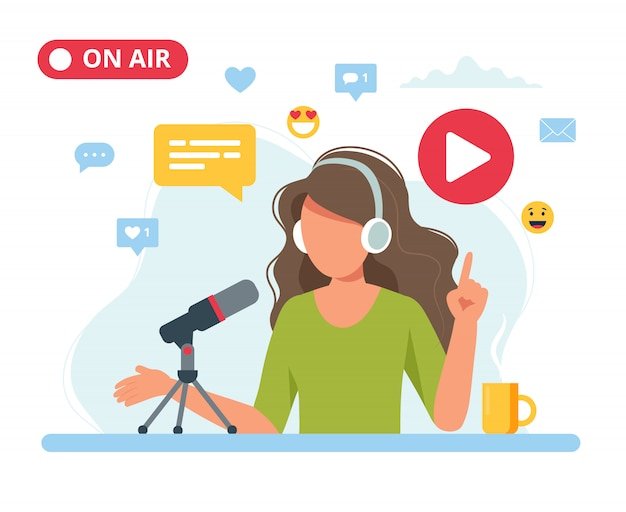 Female podcaster talking to microphone recording podcast in studio. Premium Vector