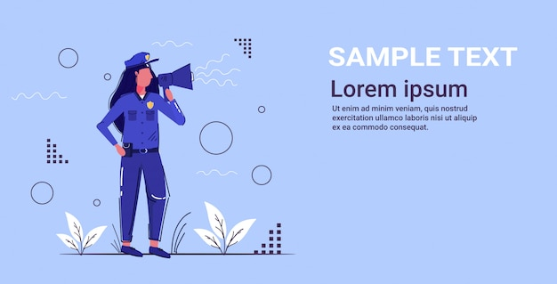 Female police officer yelling through megaphone policewoman in uniform using loudspeaker security authority justice low service concept  copy space Premium Vector
