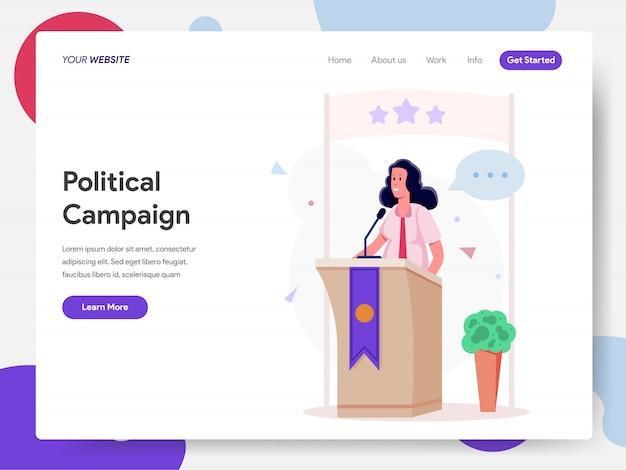 Female politician campaign on podium Premium Vector