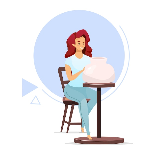 Female pottery maker flat color vector illustration. woman making clay vessel on pottery wheel. clayware production. small business. ceramics manufacturing. isolated cartoon character on white Premium Vector