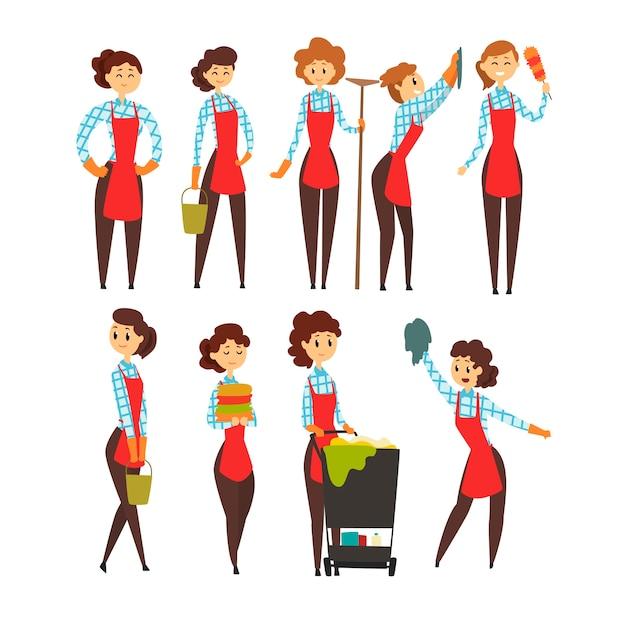 Набор женских профессиональных уборщиков, иллюстрации шаржа команды клининговой компании на белом фоне Premium векторы