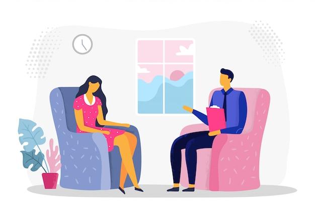 Сеанс женской психотерапии. женщина в депрессии, психиатрия и психологическая терапия. иллюстрация консультации психолога Premium векторы
